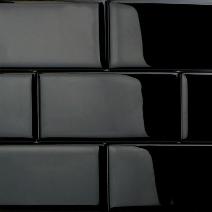 Ivy Hill Tile Contempo Classic Black Polished 3 in. x 6 in. x 8 mm Glass Subway Tile, Blacks