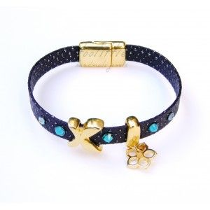 Purple Leather Butterfly & Flower Bracelet #leather bracelet