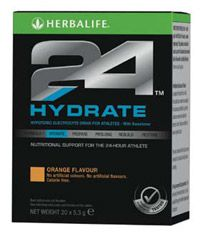 Hydrate  Use Herbalife24 Hydrate to maintain proper fluid levels throughout the day    Hydration is key for performance. Replenish your body with electrolytes to enhance fluid absorption, ensuring you are hydrated and ready to perform at your best.    Herbalife24 Hydrate contains just 52 kcals, and when mixed with water it's the perfect any-time hydration option.