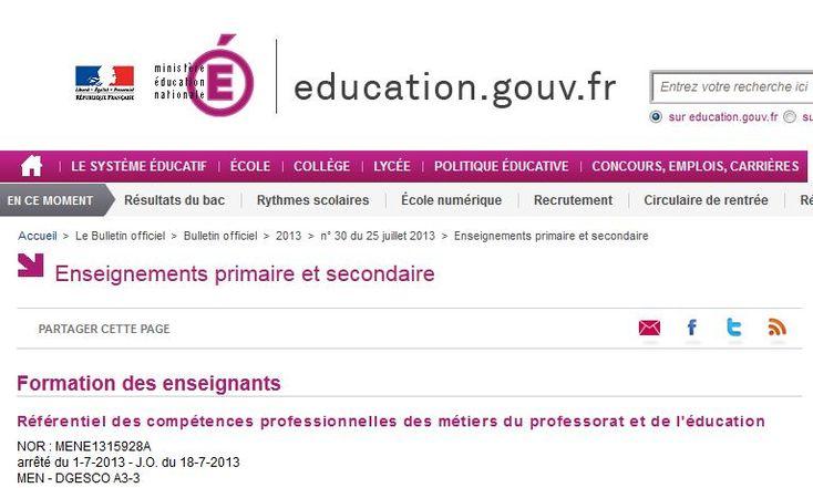 Le nouveau référentiel de compétences du professeur des écoles est paru au B.O n°30 de ce 25 juillet. Il est à savoir qu'il est la base de l'évaluation par les I.E.N des enseignants titulaires ou par les maîtres tuteurs pour les professeurs stagiaires. Il n' y a plus 10 mais 14 compétences observées.