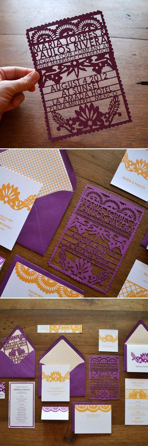 Picado Mexican paper flag wedding invitations from Avie Designs Stationery via http://JunebugWeddings.com.
