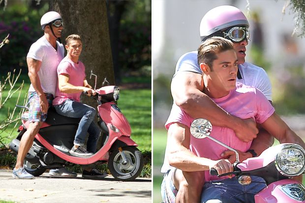 These Photos of Zac Efron and Dwayne Johnson Riding a Scooter Will Give You Life