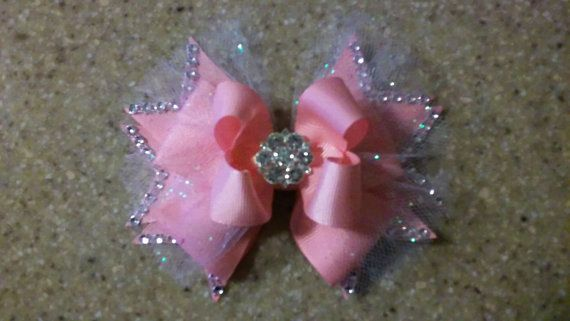 White Pink Lavender Pageant Bow  Over The Top Fancy Bow