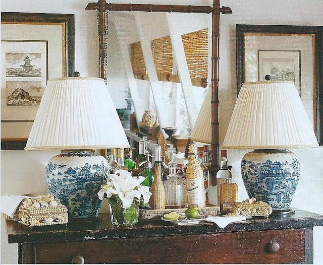 british colonial: Au Natural, White Lamps, Gingers Jars, Blue Lamps, Dan Marty, Interiors Design, British Colonial Style, Transitional Home, Blue And White