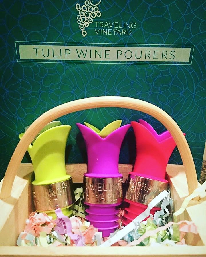 Adorable Wine Tulip Pourers/stoppers. Perfect for spring and make great stocking stuffers! Traveling Vineyard!