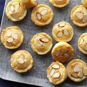 """Holiday Almond Tassies Recipe -""""I make so many of these fancy tassies that I buy a 7-pound container of almond paste""""! They're one of my family's holiday favorites.""""—Donna Westhouse, Dorr, Michigan"""
