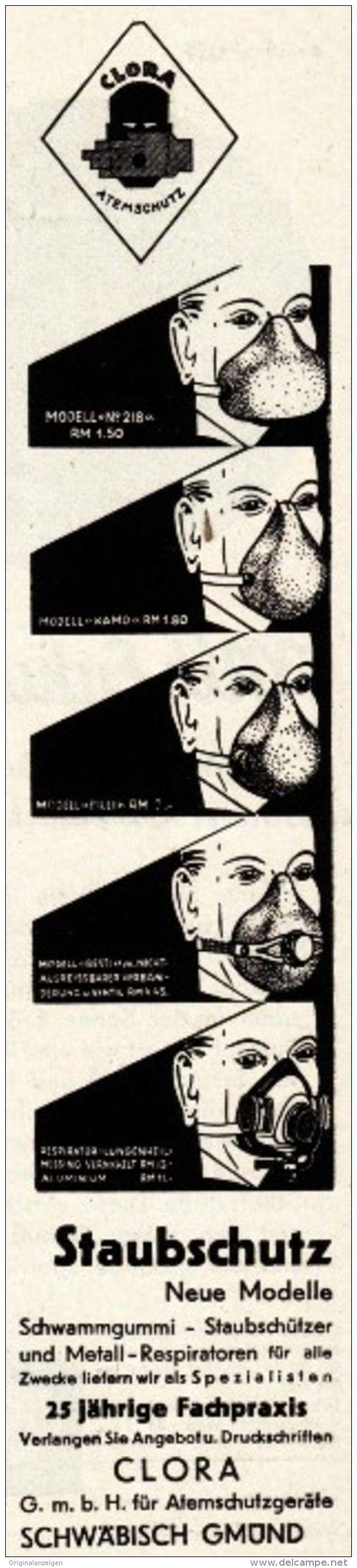 Original-Werbung/ Anzeige 1930 er Jahre - CLORA ATEMSCHUTZGERÄTE / SCHLEICH - SCHWÄBISCH GMÜND - ca. 45 x 200 mm