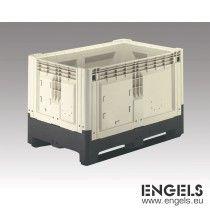 Palletbox, opvouwbaar, 2 sleden, 1200x800x800 mm, 839 ltr, beige/zwart