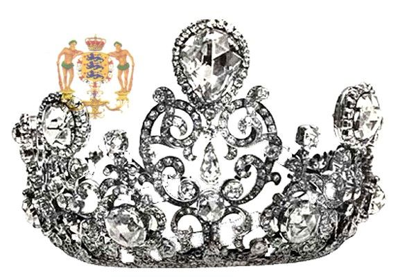 The splendid Stuart Diamond Tiara, worn by Queen Juliana at the wedding, created for Queen Wilhelmina's enthronement in 1898.