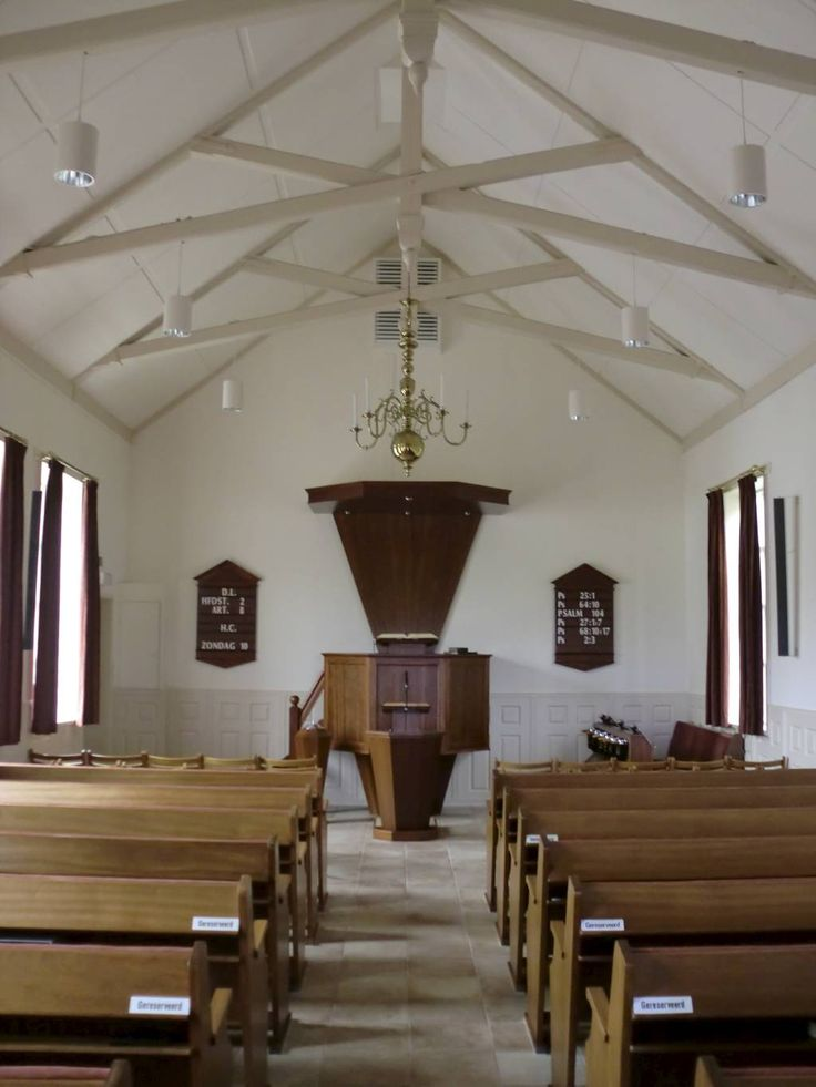 Interior of the Gereformeerde Gemeente (Reformed Congregations) of Oosterend on Texel island.