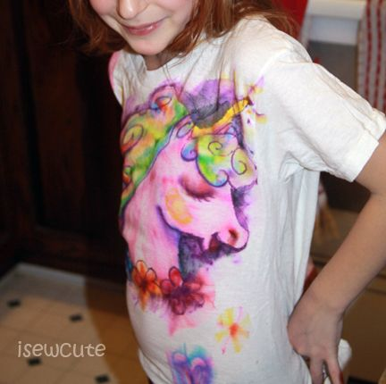Sharpie Tie Dye Unicorn T-Shirt Tutorial. Could do this for lots of designs, and wonder if it would work on canvas?