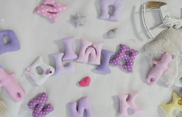 Szyte literki z imieniem dziecka. Ponad 100 tkanin - Ellarien - Dekoracje pokoju dziecięcego