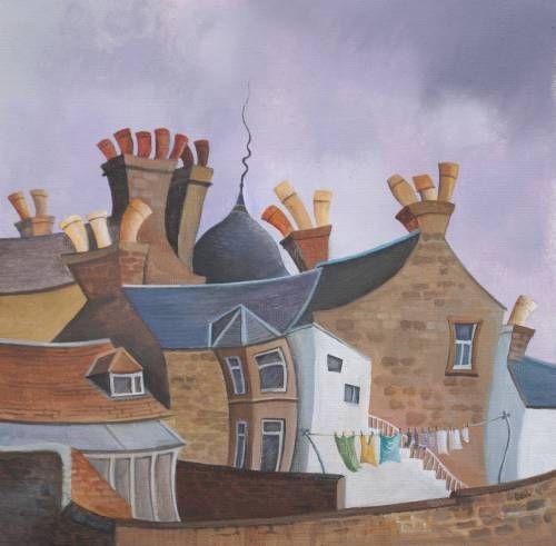 Gail Stirling Robertson_Winter Washing, Broughty Ferry_10x10   Scottish Contemporary Art