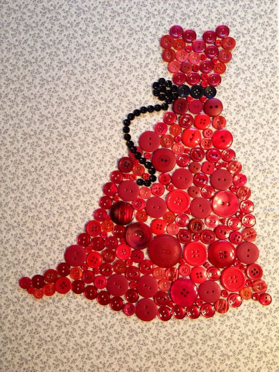 The Red Dress button art on Etsy