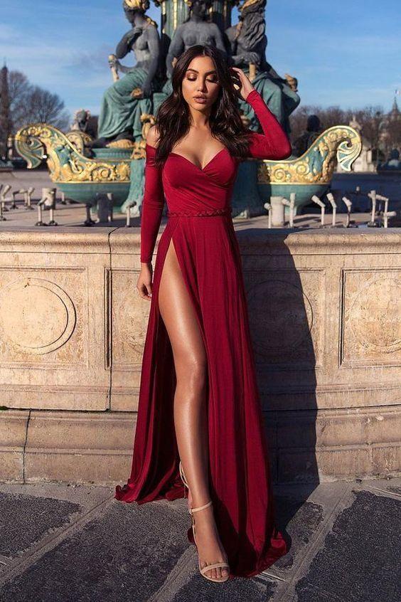 A-Line Off-the-Shoulder Long Sleeves Burgundy Elegant Prom Dress with Split cg1596