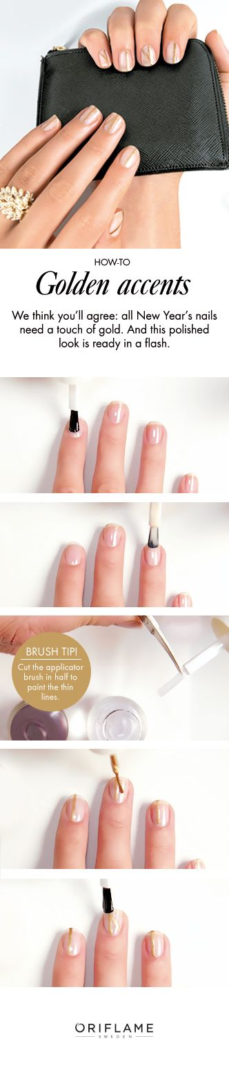 Who knew a few strokes of gold nail varnish could look so great! Recreate this polished New Year's Eve 'Golden Accents' manicure with our simple how-to guide.