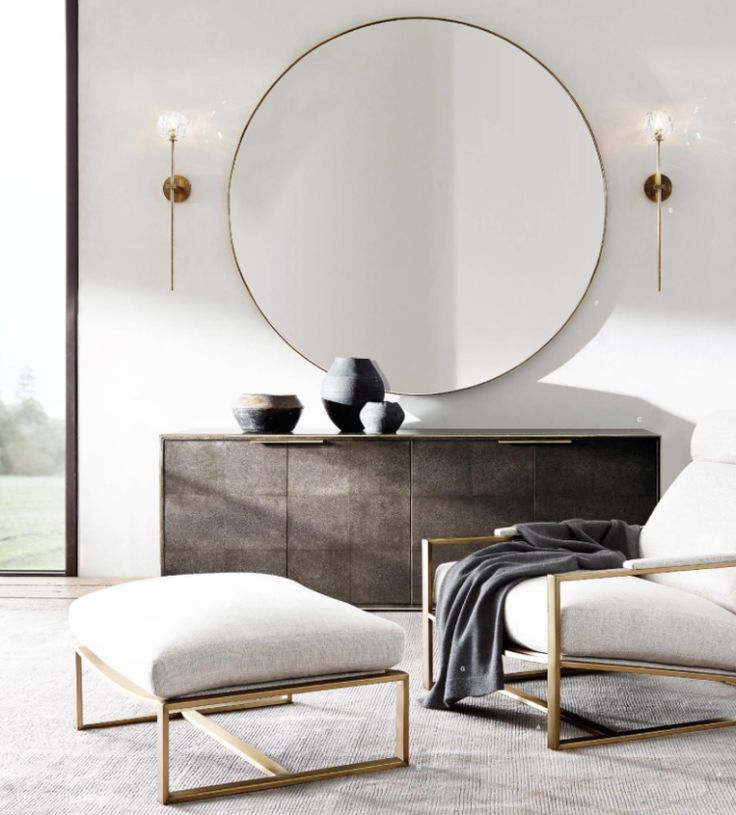 Restoration Hardware Modern Round Mirror In Brass Above The Console Dining Space