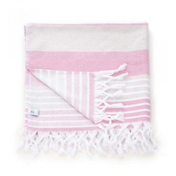 Πετσέτα Θαλάσσης / Pestemal Ροζ/Μπεζ 75Χ160 (70%COT/30%POLY)