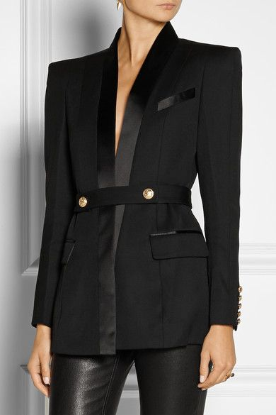 View full size image       Alexander McQueen   Satin twill-trimmed velvet tuxedo blazer                                Balmain                               Belted satin-trimmed wool tuxedo jacket