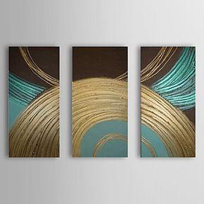pintura al óleo abstracta conjunto círculo de 3 1307-ab0475 lienzo pintado a mano – USD $ 139.99