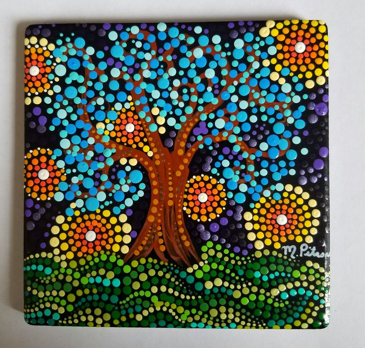 Colorful Art / Original Painting / Ceramic Art Tile/Signed / Dot Art / Whimsical Blue Tree / Unique Painting / 4 x 4 Square / Painted Stone by P4MirandaPitrone on Etsy
