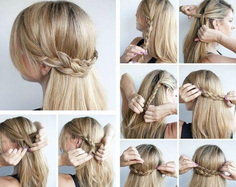 Für die Frisur zwei seitliche Strähnen flechten und nach hinten stecken