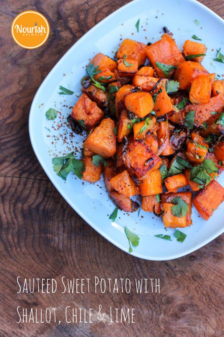 Sauteed Sweet Potato with Shallots, Chile & Lime