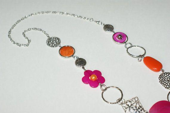 Milong fuchsia et orange collier Collier par LesBijouxLibellule, $25.00