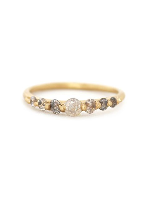Brides.com: . Light grey ombré diamond ring, price upon request, Polly Wales