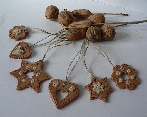 Hliňáci - sada vánočních ozdob - terakota
