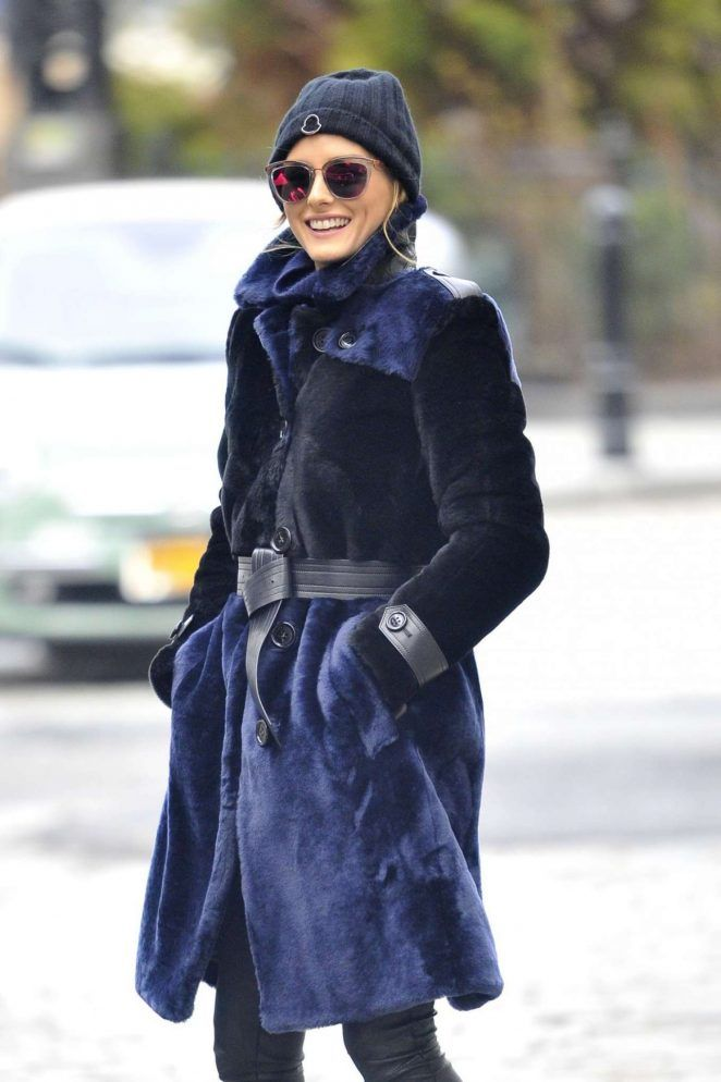Olivia Palermo in Fur Coat Out in New York - January 6, 2017