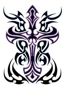 Purple Tribal Cross Tattoo I love this!