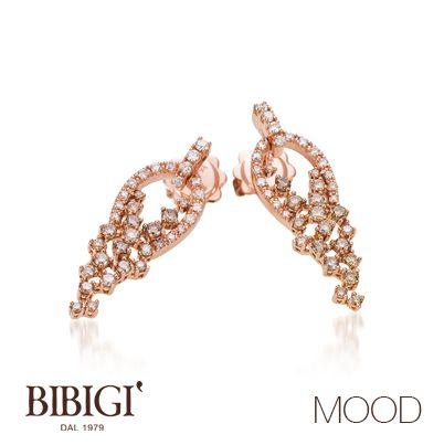 #Bibigì #mood Orecchini in oro rosso, brillanti brown e diamanti. Più retrò o più classica, Mood propone le versioni in oro rosso e oro bianco per qualsiasi stato d'animo.