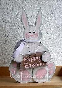 Rękodzieło drewniane na Wielkanoc - Cute White Easter Bunny Woodcraft