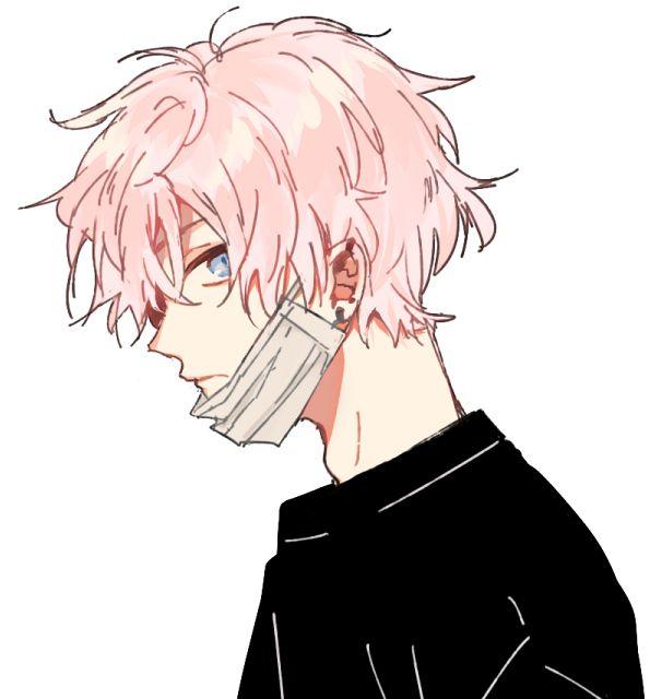 Animeboy Mask Pinkhair Anime Boy Hair Pink Hair Anime Pink Hair Guy