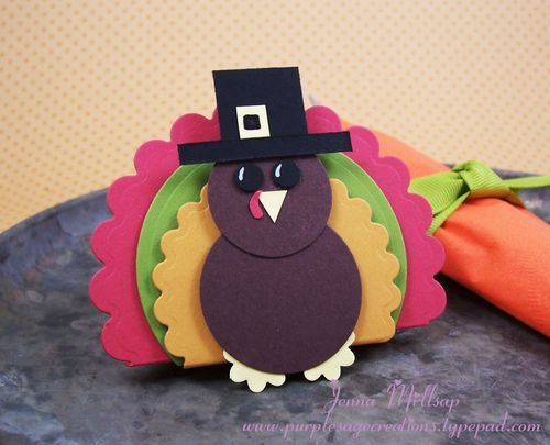 Tom Turkey Tutorial at Purple Sage Creations (uses Nestabilities dies, circle punches & a flower punch to make a turkey)