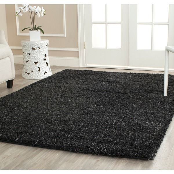 cool Safavieh California Cozy Solid Black Shag Rug (11' x 15')