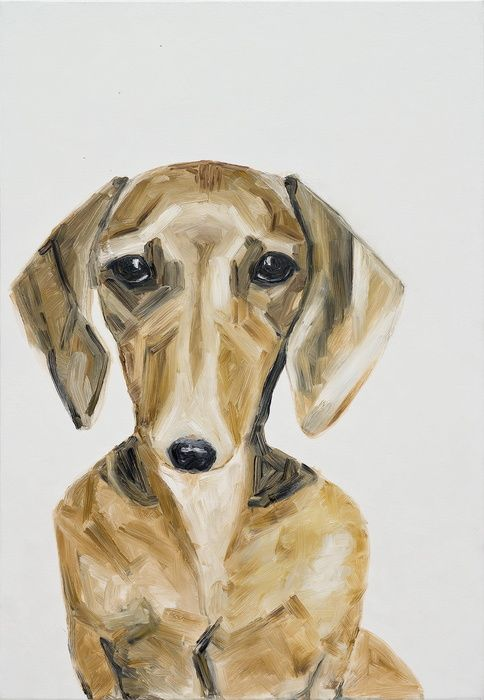 Dachschund (2014) - oil, canvas 100x70cm ildiko olah - oldi paintings The painting was inspired by the photo of Roman Rzaev.