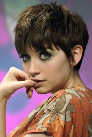 Longer pixie cut.