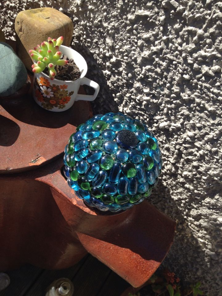 My first glass ball... Recycled outdoor bowls ball.