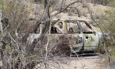 Five charred bodies found along Arizona drug smuggling route  Drugs cartel suspected as bodies discovered in Vekol Valley, part of a well-known corridor for drugs and human smuggling