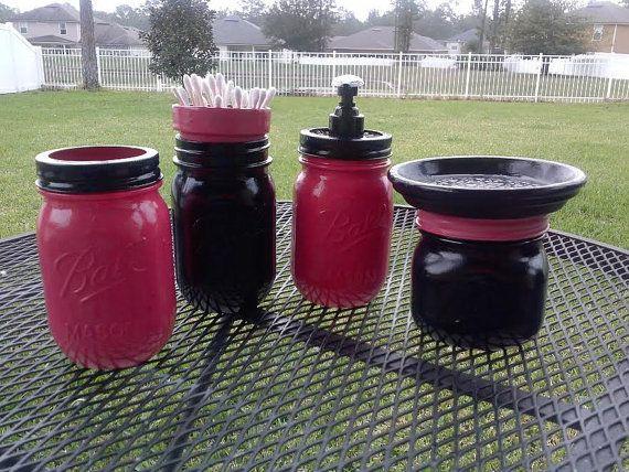 Mason Jar Black and Hot Pink Bathroom Set! :) finally a use for my recycled jars. www.pleasurewagon.com