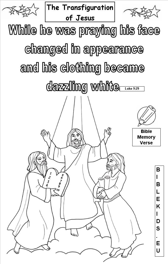 jesus transfiguration coloring pages - photo#24