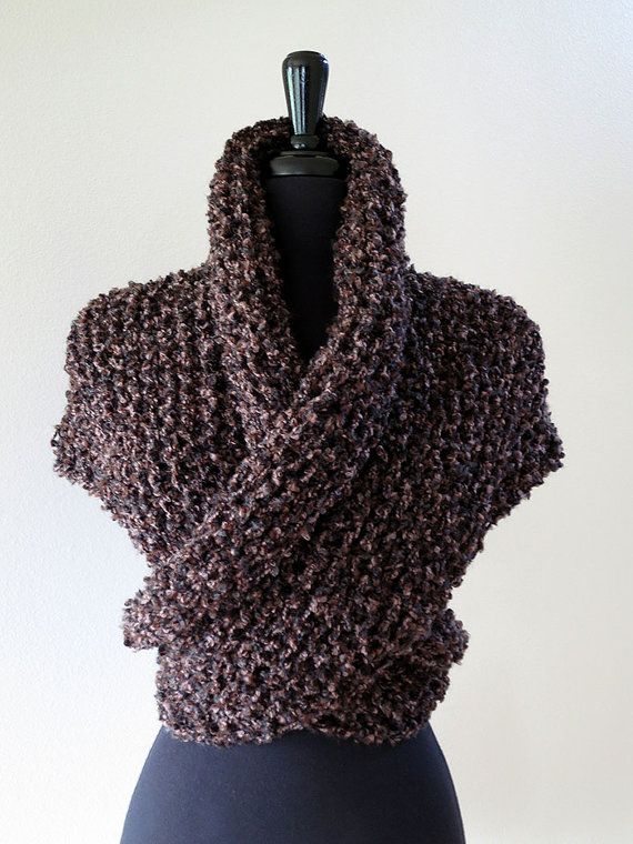 I WAAAANT! Outlander Inspired Claire's Cape Dark Brown Color Knitted Chunky Boucle Yarn Sassenach Shawl Wrap Stole with Tassels