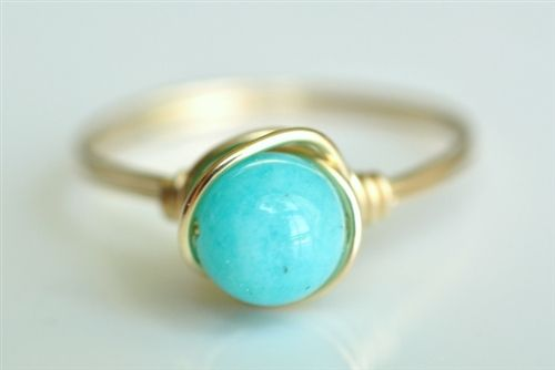 robins egg blue peruvian opal wire wrap ring