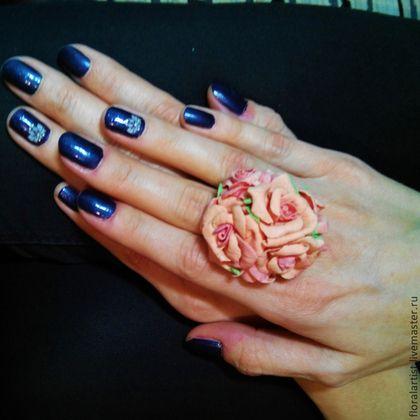 """кольцо """"Персиковые розы"""" - оранжевый,подарок,подарок девушке,подарок женщине"""