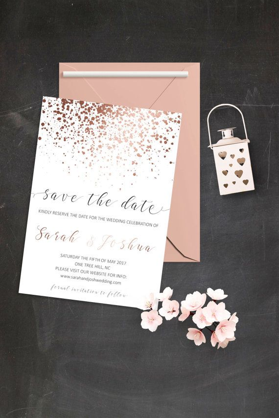 Modern Save the Date Cards Simple Save the Date Invitations Rose Gold Confetti Invitation Rose Gold Save the Date Card Digital Download File
