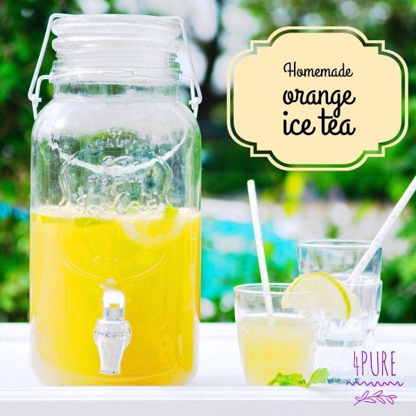 Homemade orange ice tea - 4Pure #orange #icetea #colddrinks #drink #infusion #homemade #scratch #4pure http://www.4pure.nl