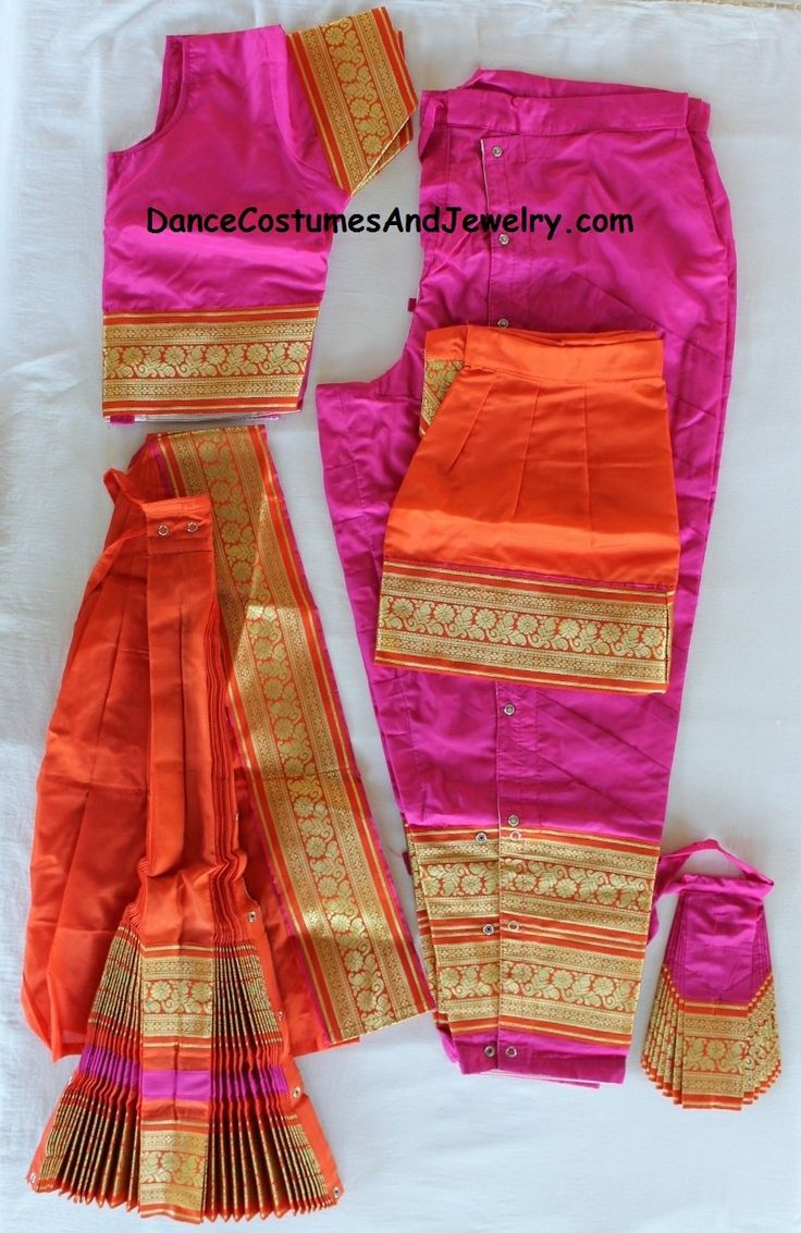 www.DanceCostumesAndJewelry.com - Bharatanatyam dance costume Pant style Readymade Pink and Orange, $ 119.90 (http://www.dancecostumesandjewelry.com/bharatanatyam-dance-costume-pant-style-readymade-pink-and-orange/)
