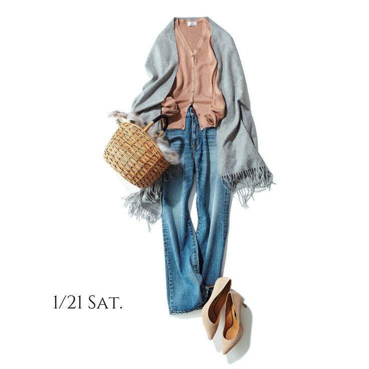 着やせする艶ありカーデに最新の美脚デニムを合わせて春を待ちわびるMarisol ONLINE|女っぷり上々!40代をもっとキレイに。